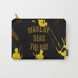 Wake Up Seas The Day Kiteboarder Brown and Yellow Carry-All Pouch