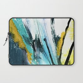 Splash: a vibrant mixed media piece in blues and yellows Laptop Sleeve