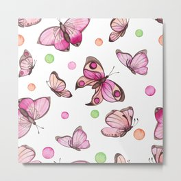 Watercolor Pink Butterflies and Colorful Dots Metal Print