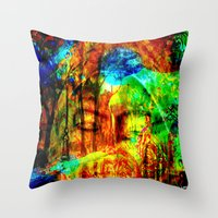 meditation Throw Pillows featuring  Meditation by shiva camille