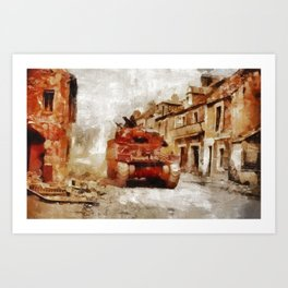 Advance Through Normandy, WWII Art Print