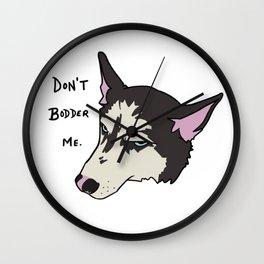 Annoyed Husky Wall Clock
