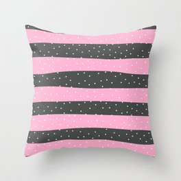 Christmas Simple seamless pattern Snow confetti on Grey and Hot Pink Pastel Stripes Background Throw Pillow