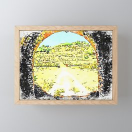 Pieve di Tho: arch of the bridge and countryside landscape Framed Mini Art Print