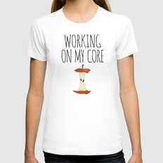 Working On My Core MEDIUM White Womens Fitted Tee
