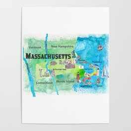 USA Massachusetts State Travel Poster Map with Touristic Highlights Poster