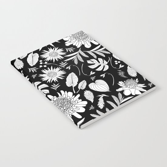 TROPICAL FLORAL BLACK & WHITE Notebook