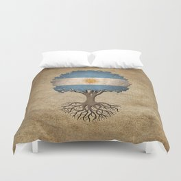 Vintage Tree of Life with Flag of Argentina Duvet Cover