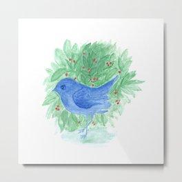 Blue bird and shrub watercolor painting Metal Print