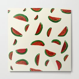 Funny Watermelon. Red and green illustration in cartoon style. Metal Print