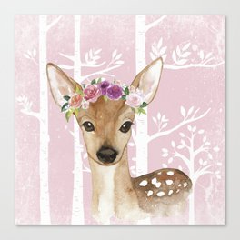 Animals in Forest - The Little Deer Canvas Print