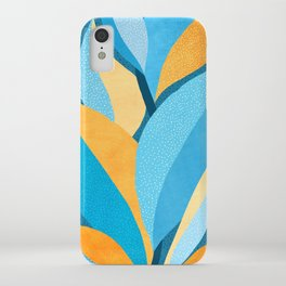 Fire and Ice - Gold and Teal Abstract Plant Painting iPhone Case