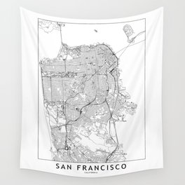 San Francisco White Map Wall Tapestry