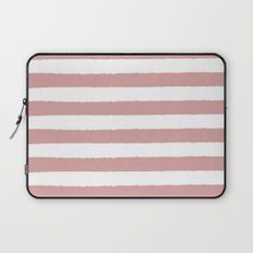 Mauve and white stripes - classy college student collection Laptop Sleeve