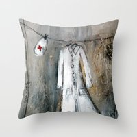 nurse Throw Pillows featuring nurse by woman