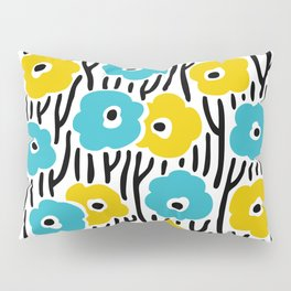 Mid Century Modern Wild Flowers Pattern Turquoise and Yellow Pillow Sham