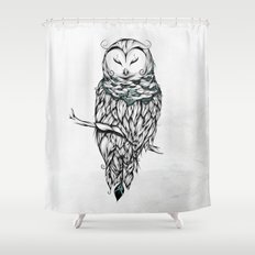 Poetic Snow Owl Shower Curtain