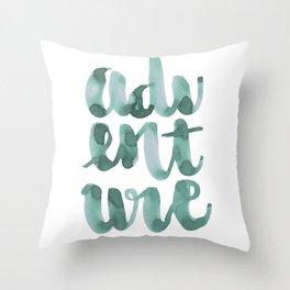 Adventure Green Watercolor Throw Pillow