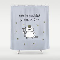 murakami Shower Curtains featuring CAT IS GOD pale blue by Ayako Murakami
