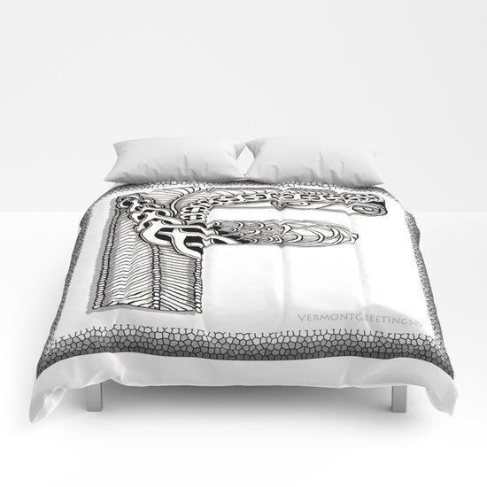 Zentangle F Monogram Alphabet Illustration Comforters
