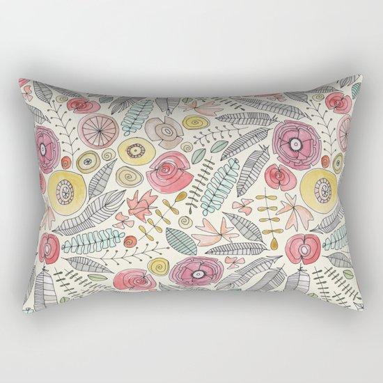 feather fleur watercolor Rectangular Pillow