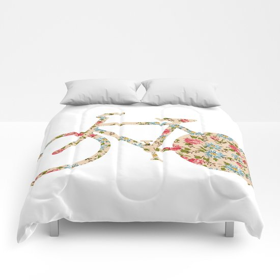 Whimsical cute girly floral retro bicycle Comforters