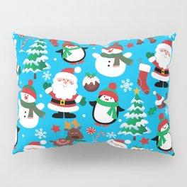 Santa Claus, Snowmen, Reindeer and Christmas Trees Pattern Pillow Sham