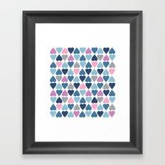 Diamond Hearts Pink Framed Art Print