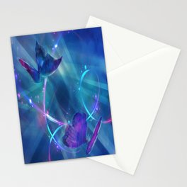 Butterflies and Light Swirls Abstract Stationery Cards
