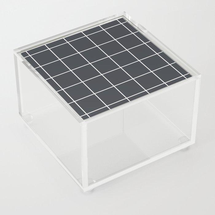 Minimal grid pattern on dark lava Acrylic Box