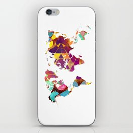 Map of the world colored geometric iPhone Skin