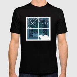 White Kitty Cat Window Watcher T-shirt