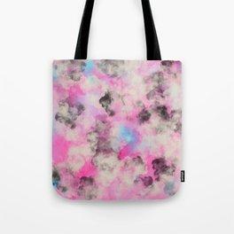 Artsy bright pink teal black abstract watercolor Tote Bag