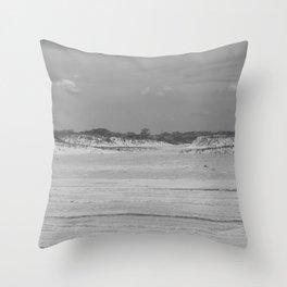 Dunes of Assateague Island (black and white) Throw Pillow