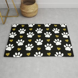 Dog Paws, Traces, Glitter, Hearts - Gold Black Rug