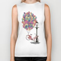 brompton Biker Tanks featuring Love to Ride my Bike with Balloons even if it's not practical. by Wyatt Design