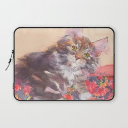 Kitten's Bed of Roses Laptop Sleeve