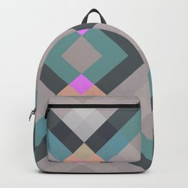 Classic Colorful Abstract Geometric Bauhaus Shape Style Retro Pattern Art On Grey Backpack