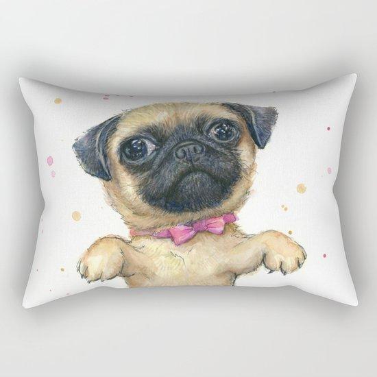 Pug in a Tutu Cute Animal Whimsical Dog Portrait Rectangular Pillow