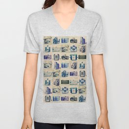 Vintage Camera Collection Unisex V-Neck