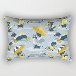 Ready For a Rainy Walk // pastel blue background dachshunds dogs with yellow and transparent rain co Rectangular Pillow