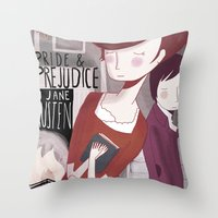 pride and prejudice Throw Pillows featuring Pride and Prejudice by Nan Lawson