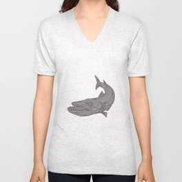 Barracuda Swimming Down Drawing Unisex V-Neck