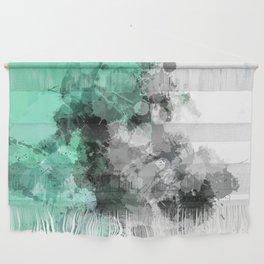 Mint Green Paint Splatter Abstract Wall Hanging