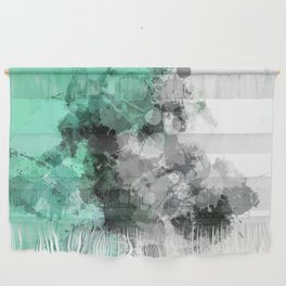 Mint Green Paint Splatter Abstract Wall Hanging