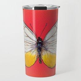 Cepora Lea Butterfly - White, Yellow, Tangerine Travel Mug