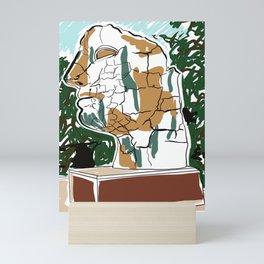 Sculpture of mans head drawing Mini Art Print
