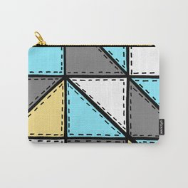Marker Patchwork – Triangles and Rectangles – Gray Blue Yellow Carry-All Pouch