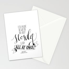 I Fell In Love The Way You Fall Asleep | John Green Quote Print Stationery Cards