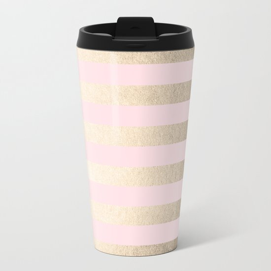 Simply Striped in White Gold Sands and Flamingo Pink Metal Travel Mug